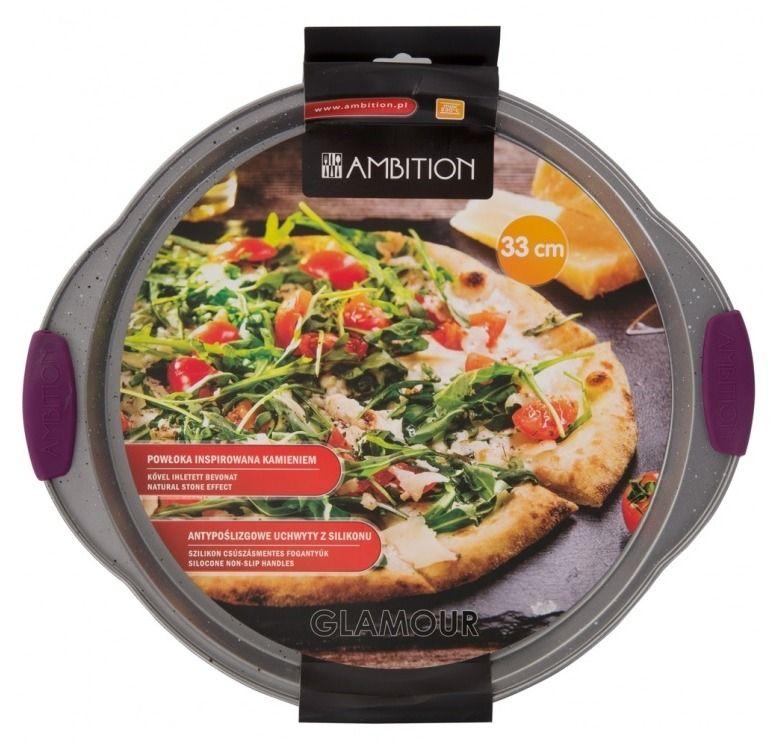 Forma de copt pizza cu maner silicon violet 33cm Glamour