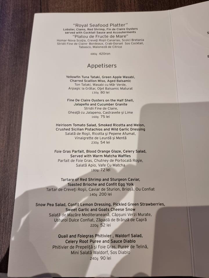 Restaurant Pastel din Cluj o stea Michelin aperitiv